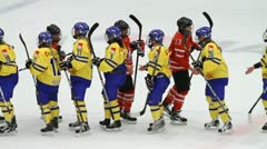 SWE-CAN ladies shaking hands after the game Stock Footage