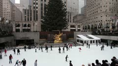 Rockefeller Center NYC Christmas holiday season winter day time wide Stock Footage