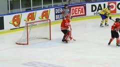 Ice hockey triple save Stock Footage