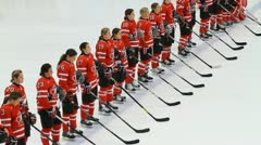 Canadian women's hockey team, national anthem - stock footage