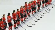 Stock Video Footage of Canadian women's hockey team, national anthem