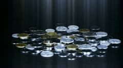 Coin Fall,group of RMB coins and rays light. Stock Footage