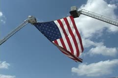 Flag on Fire Truck Latters Stock Footage