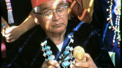 Native American Man INDIAN Elder Carves Doll 1960s Vintage Film Home Movie 1509 Stock Footage