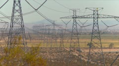 Industry, long line of power pylons Stock Footage