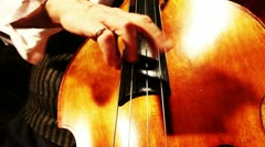 Musician and Double Bass 22 playing jazz wide low angle - stock footage