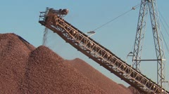 Industry, gravel conveyor and quarried stone MS Stock Footage