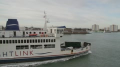 Wightlink Isle of Wight vehicle ferry arrives in Portsmouth harbour Stock Footage