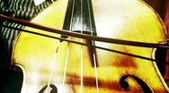 Stock Video Footage of Musician and Double Bass 37 wide low angle stylized artcolored
