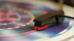 Colourful LP spinning on a turntable Stock Footage