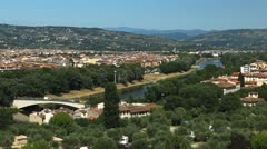 Aerial View of Florence, Italy, Florence Landscape, Ponte S. Niccolo, Bridge Stock Footage