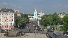 Timelapse of Saint Michael's Golden-Domed Cathedral  Stock Footage