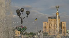 Berehynia Monument, Square of independence in Kiev, Ukraine Stock Footage