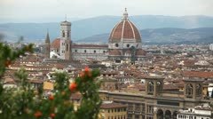 Aerial View of Florence, Italy, Florence Cathedral, Saint Mary of the Flower Stock Footage