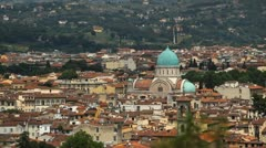 Aerial View of Florence, Italy, Great Synagogue of Florence, Tempio Maggiore Stock Footage