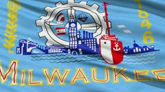 American State City Flag of Milwaukee - stock footage