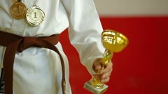 Trophy and medal Stock Footage