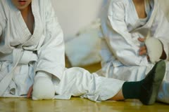 Kids karate training in the gym Stock Footage