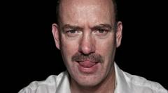 Man growing mustache timelapse whole head Stock Footage