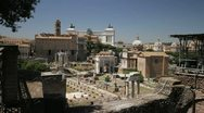 The Roman Forum with the Monument to Vittorio Emanuele II in the background Stock Footage