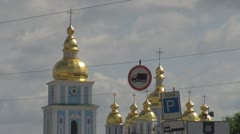 Saint Michael's Golden-Domed Cathedral with its belltower in Kiev, Ukraine - stock footage