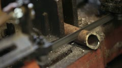 Cutting steel with band saw 2 P HD 8457 Stock Footage