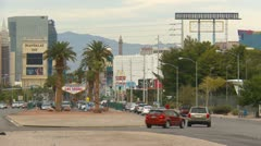 Las Vegas,traffic on south end of strip, day LS Stock Footage