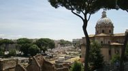 The Roman Forum and ancient ruins in Rome, Italy Stock Footage