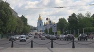 Stock Video Footage of Saint Michael's Golden-Domed Cathedral with its belltower in Kiev, Ukraine