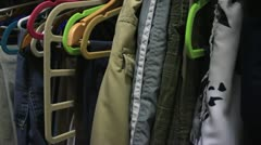 Inside of a closet - clothing Stock Footage
