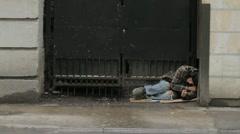 Homeless Man in Urban Setting Stock Footage