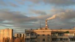 Pipe smokes on background sky Stock Footage