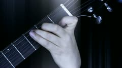 Playing guitar,strum and rays lights. Stock Footage