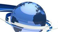 Earth globe animation (3D blue glass world) Stock Footage