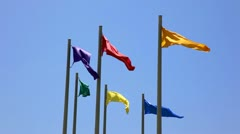 Colorful flags and perfect blue sky Stock Footage