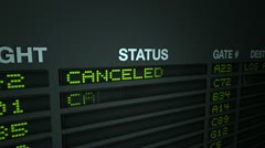all flights canceled - information board - stock footage