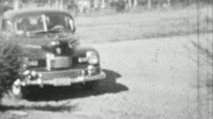 Old Car Drives Up (Archival 1940s) Stock Footage