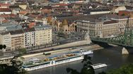 Time Lapse of Aerial View of Budapest, Liberty Bridge, Vasarcsarnok Market Stock Footage
