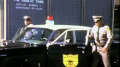 Navajo Police Officers Circa Enter Station 1965 (Vintage Film Footage) 1553 Stock Footage