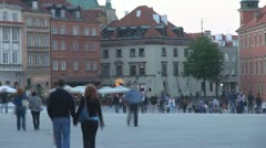 Castle Square,Old Town in Warsaw, Poland Stock Footage