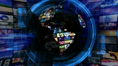 Global news media technology graphics Stock Footage