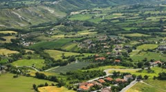 HD Time Lapse Aerial View of San Marino, Beautiful Landscape, Fields, Hills Stock Footage