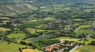 Stock Video Footage of HD Time Lapse Aerial View of San Marino, Beautiful Landscape, Fields, Hills