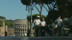 Italian traffic waldens in Rome (Col in background) Stock Footage