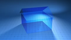 Blueprint house on 3d grid Stock Footage