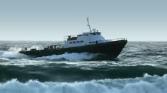 boat in rough seas - heading to port - stock footage