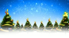Christmas trees and snow (hd loop) Stock Footage