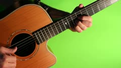 Steel string guitar green screen Stock Footage