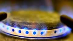 Gas burning on a stove Stock Footage
