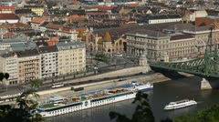HD Aerial View of Budapest, Danube River, Liberty Bridge, Vasarcsarnok Market Stock Footage